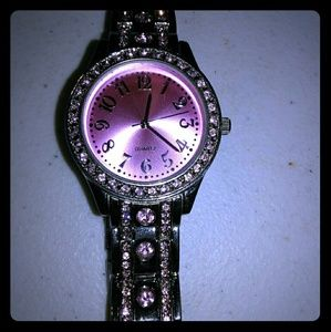 Accessories - Sterling silver with pink rhinestones& pink face
